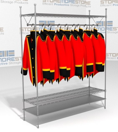 museum uniforms in garment storage racks