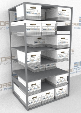 storing inactive paper records in box shelving