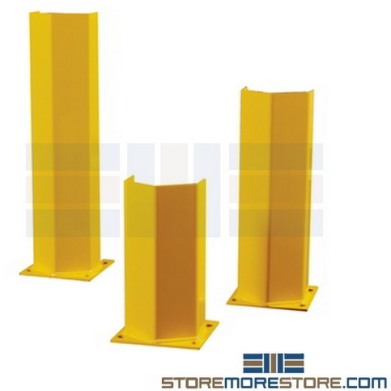 three sizes of pallet rack post guards