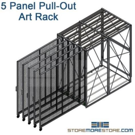 five panel pull-out art storage racks