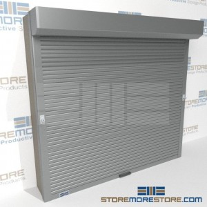 locking roll-down security doors for shelving