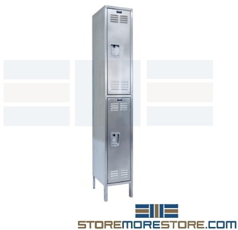 corrosion-resistant stainless steel double tier lockers