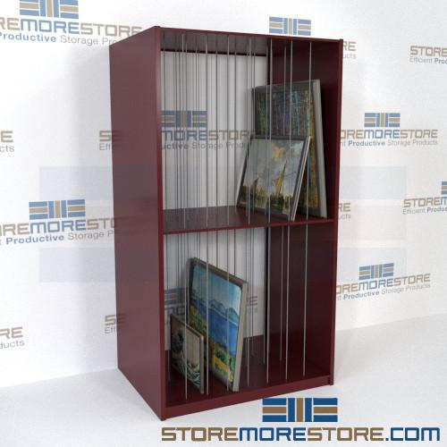 framed artwork storage cubbies shelves