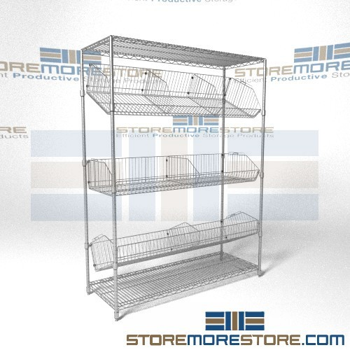 adjustable tilting wire basket racks