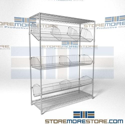 adjustable tilting wire basket racks