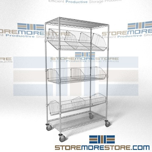 angled shelf carts