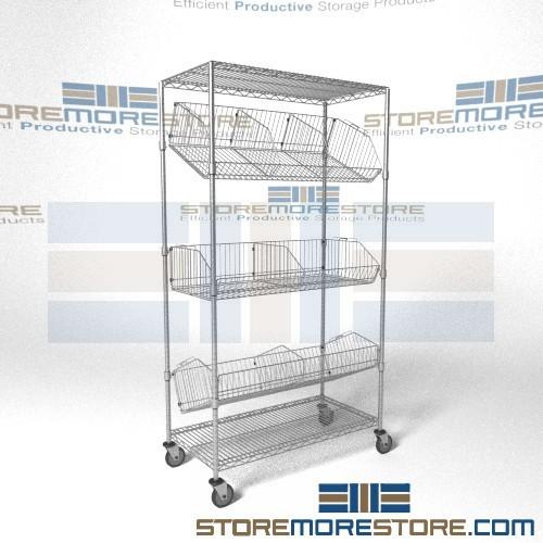 angled shelf carts