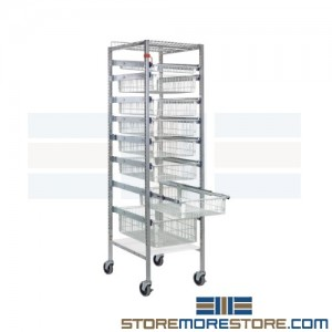 wire carts with pull-out basket drawers
