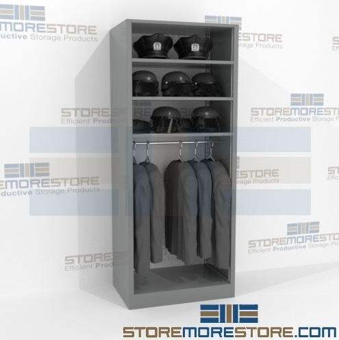 steel rod shelving with overhead storage