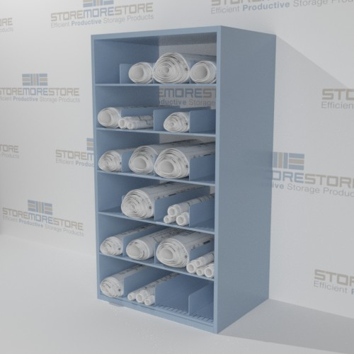 rolled plan drawing storage full height shelves