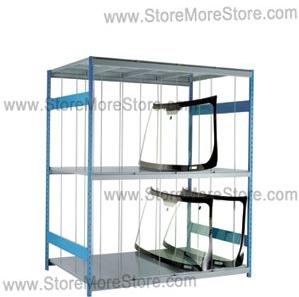 specialty storage racks storing automotive parts