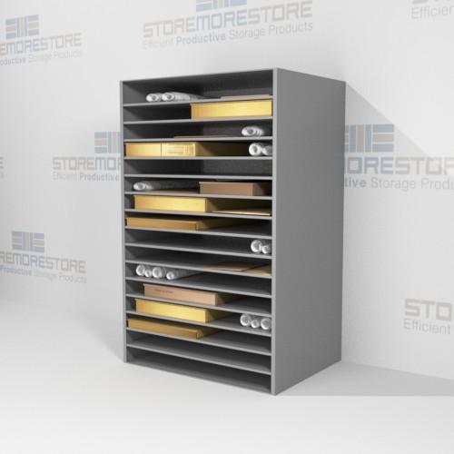 archival shelves storing flat rolled works on paper