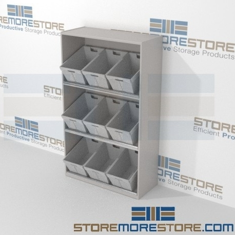 bulk mail sorting bins angled slanted shelves