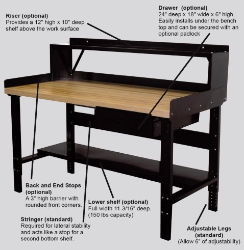 industrial workbenches with storage drawer