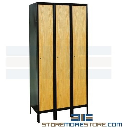 wood oak door lockers metal steel frames