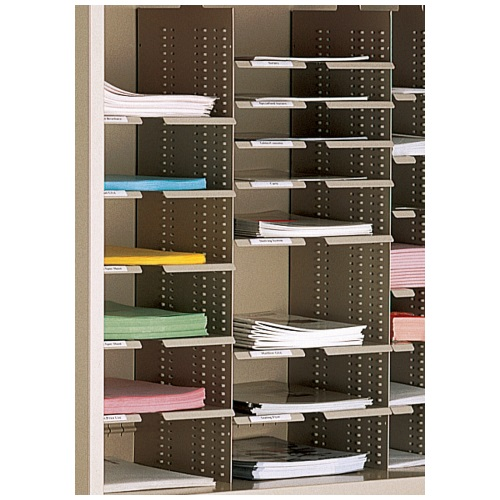slotted shelves mailroom storage cabinet