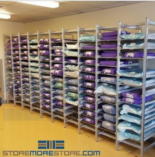wrapped surgical instrument tray racks