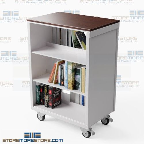 double-sided mobile book carts
