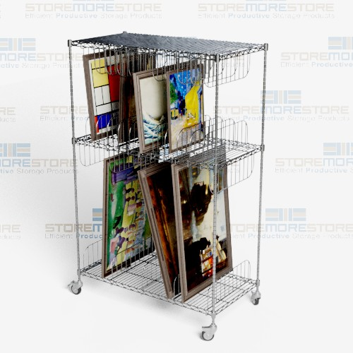 framed artwork storage carts