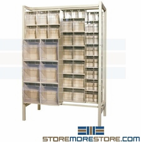 sliding clear bin shelving