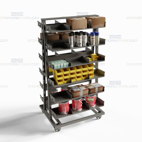 removable shelf bin tray cart