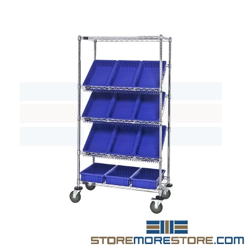 tilted wire shelving bin carts