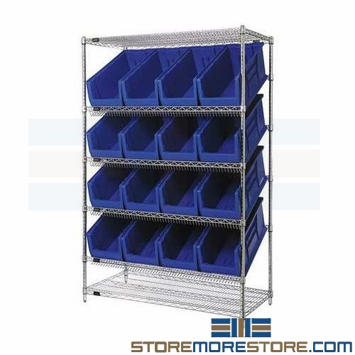 tilted wire shelving racks