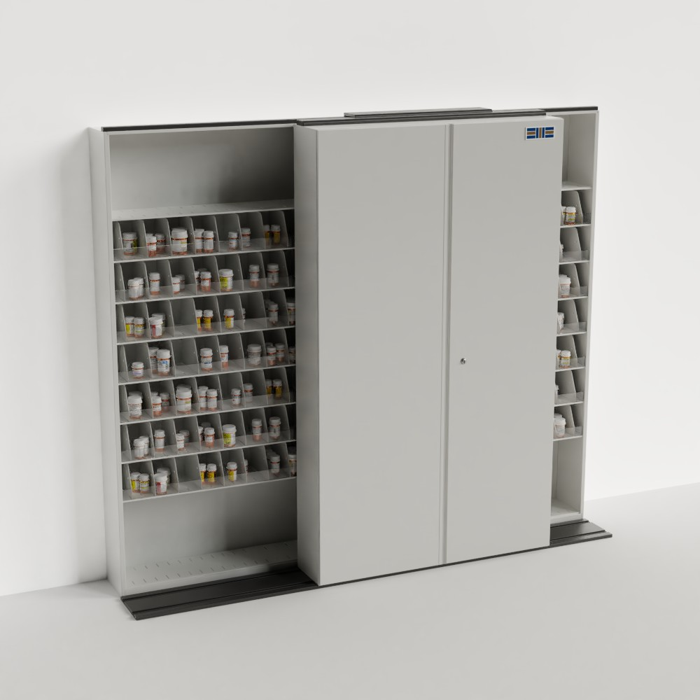mobile sliding pharmacy storage shelving
