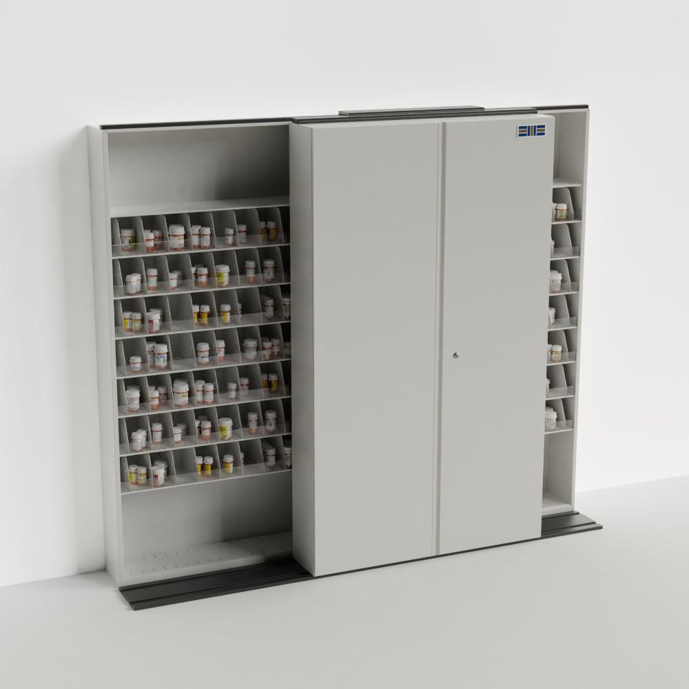 mobile sliding pharmacy storage shelving