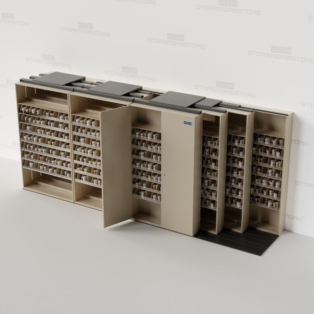 pharmacy storage sliding shelving