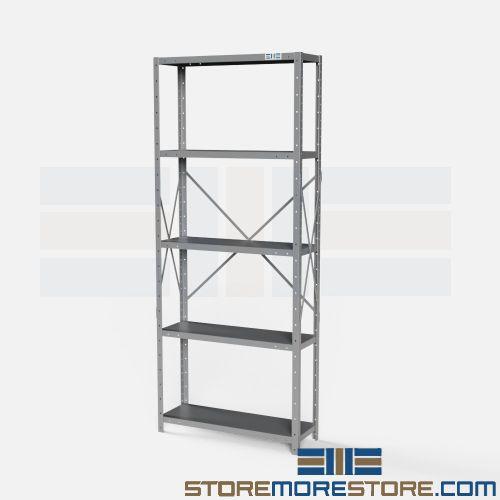 angled open shelving