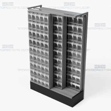 high density tip out stacked mobile storage bin racks