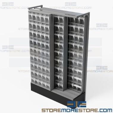 high density sliding parts bin shelves