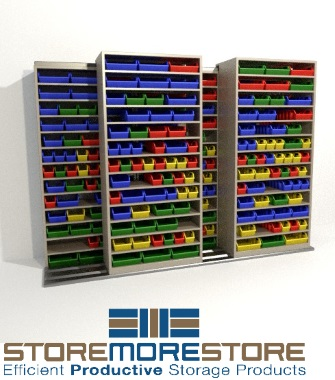 sliding parts bin shelves