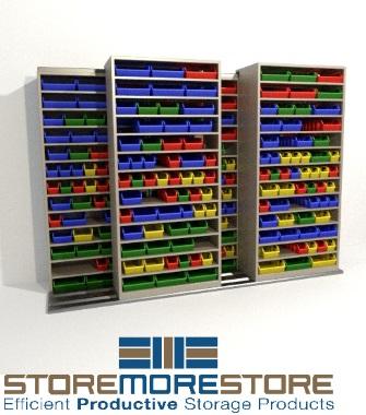 sliding parts bin shelves