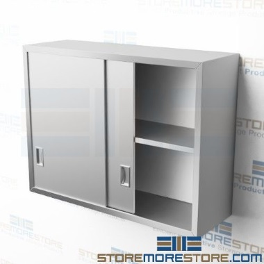 stainless steel wall storage sliding door cabinets