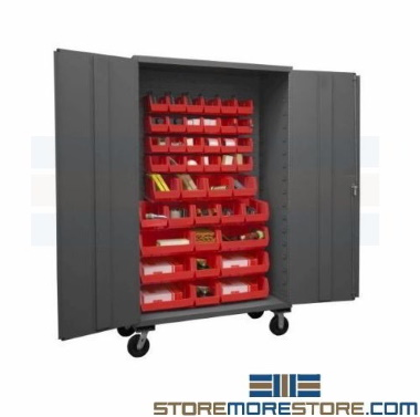heavy duty mobile industrial parts bin storage