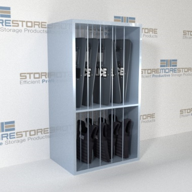 riot shield storage shelving
