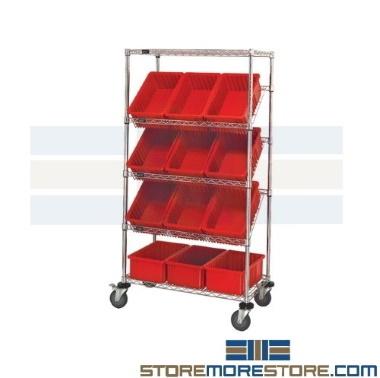 angled bin wire shelves