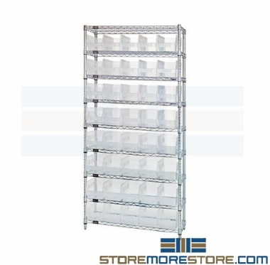 clear plastic bin high density wire shelves