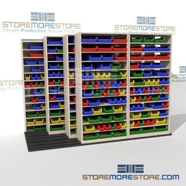 high capacity sliding bulk bin shelves