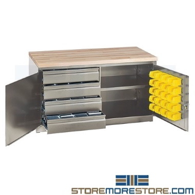 industrial parts bin drawer storage benches