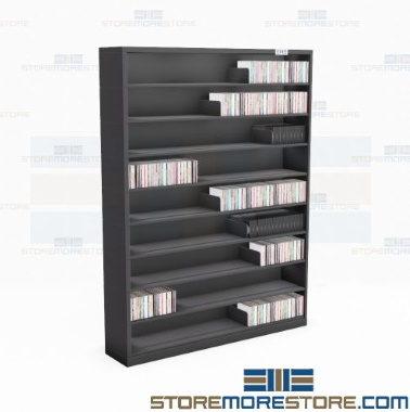 narrow school multimedia file storage shelves