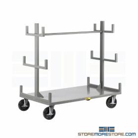 carts storing transporting pipe bar stock