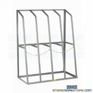 vertical storage racks for storing pipe and bar stock