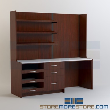 modular pharmacy casework storage dispensary shelving