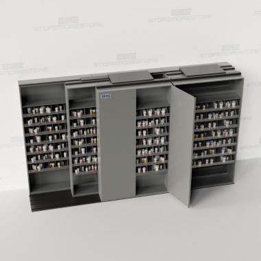 Sliding pharmacy storage shelving