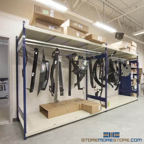 auto shop organization hanging parts storage